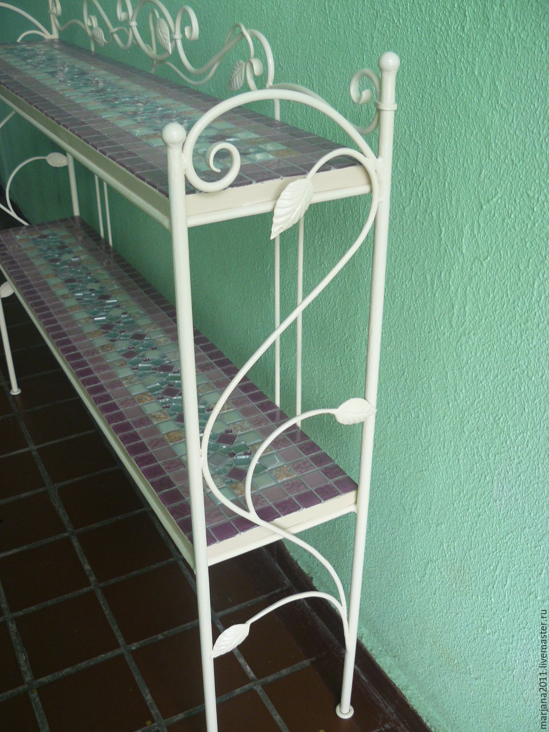 The shelves are wrought iron with mosaic shelves, 'Gentle gentle', Stand, Moscow,  Фото №1