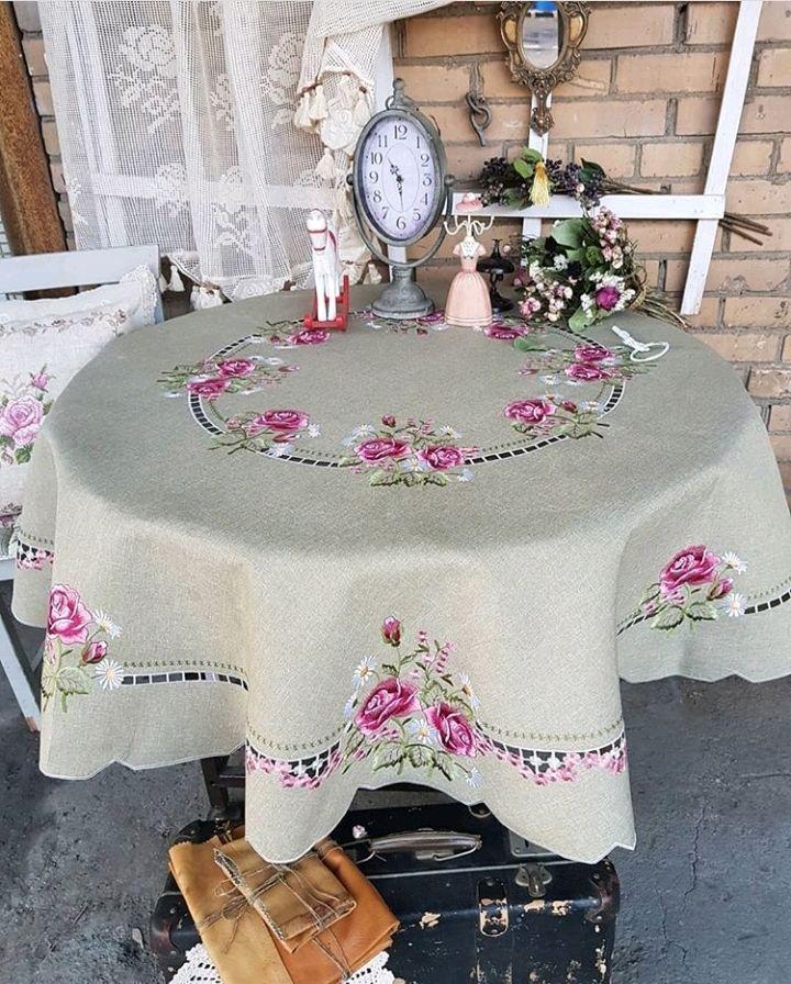 Льняная скатерть с вышитыми розами BELL, Скатерти, Стерлитамак,  Фото №1
