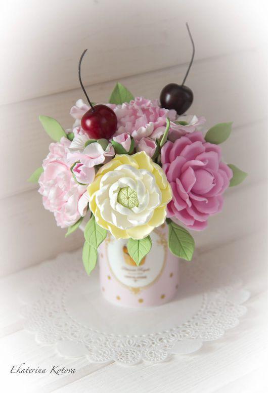 """Интерьерные композиции ручной работы. Ярмарка Мастеров - ручная работа. Купить """"Вишневый десерт"""". Handmade. Розовый, пион, душистый горошек"""