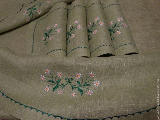 """Текстиль, ковры ручной работы. Ярмарка Мастеров - ручная работа. Купить Скатерть льняная с салфетками """"Скромница""""-зелень. Handmade. Салатовый"""