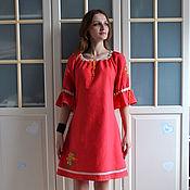 Одежда handmade. Livemaster - original item Red linen dress in boho style with embroidery Spring. Handmade.