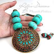 Украшения handmade. Livemaster - original item Tibetan necklace, turquoise large pendant with coral turquoise ethnic Tibet.. Handmade.