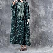 Одежда ручной работы. Ярмарка Мастеров - ручная работа Длинное платье / халат / темно-зеленый. Handmade.
