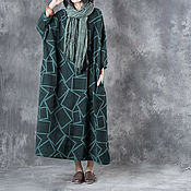 Одежда handmade. Livemaster - original item Long dress / robe / dark green. Handmade.