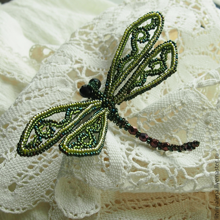 Brooch Quot Green Dragonfly Quot Barrette Beaded Blue Dragonfly
