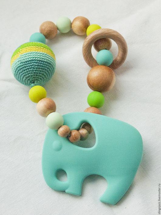 """Развивающие игрушки ручной работы. Ярмарка Мастеров - ручная работа. Купить """"Мятный слон"""". Погремушка-прорезыватель. Handmade. Мятный"""