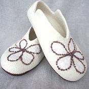 Обувь ручной работы. Ярмарка Мастеров - ручная работа Валяные тапочки Молочные реки -2. Handmade.
