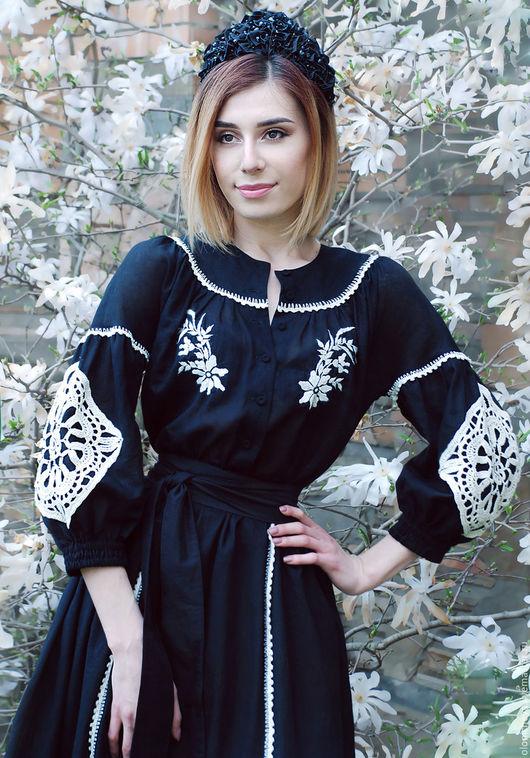"""Платья ручной работы. Ярмарка Мастеров - ручная работа. Купить Эксклюзивное черное платье с вышивкой """"Цветущая магнолия"""". Handmade. Рисунок"""