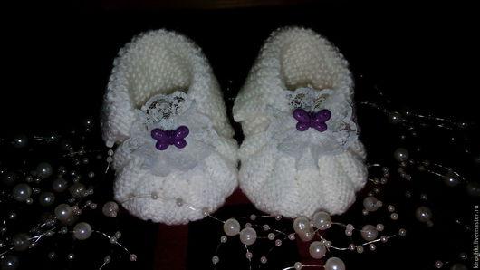 Детская обувь ручной работы. Ярмарка Мастеров - ручная работа. Купить Пинетки для малышей. Handmade. Комбинированный, пинетки крючком