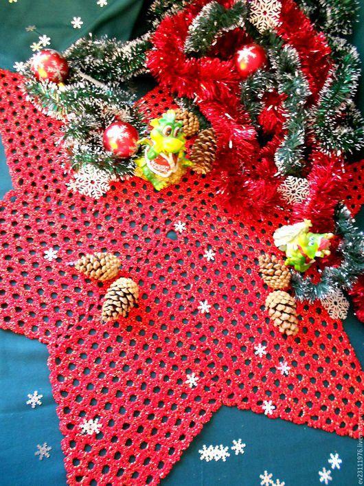 Текстиль, ковры ручной работы. Ярмарка Мастеров - ручная работа. Купить НОВОГОДНИЕ ВЯЗАНЫЕ САЛФЕТКИ. Handmade. Разноцветный, Вязание крючком