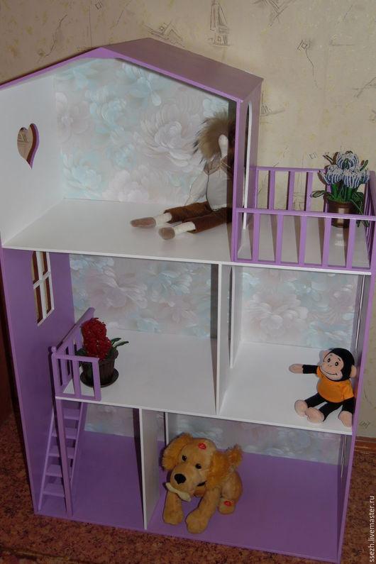 Кукольный дом ручной работы. Ярмарка Мастеров - ручная работа. Купить Кукольный домик. Handmade. Фиолетовый, фанера, домик для кукол