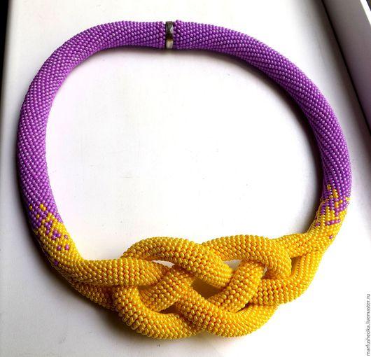 Колье, бусы ручной работы. Ярмарка Мастеров - ручная работа. Купить Узел лилово-желтый. Handmade. Комбинированный, жгут