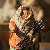 """Куклы и игрушки ручной работы. Ярмарка Мастеров - ручная работа Ватная елочная игрушка """"Девочка в красном тулупе"""". Handmade."""