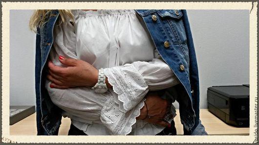 Блузки ручной работы. Ярмарка Мастеров - ручная работа. Купить блуза с опущенными плечиками крестьянка. Handmade. Белый, шитье хлопок