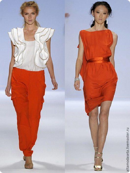"""Шитье ручной работы. Ярмарка Мастеров - ручная работа. Купить Вискозное кади """"Armani"""". Handmade. Оранжевый цвет, блузка из шелка"""