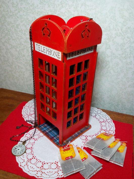 """Кухня ручной работы. Ярмарка Мастеров - ручная работа. Купить Чайный домик """"Телефон"""". Handmade. Ярко-красный, лондон, фанера"""