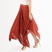 Одежда ручной работы. Ярмарка Мастеров - ручная работа Удлиненная юбка-сарафан кирпичного цвета. Handmade.