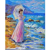 """Картины и панно ручной работы. Ярмарка Мастеров - ручная работа Картина """"Девушка на берегу моря"""" масло, холст. Handmade."""