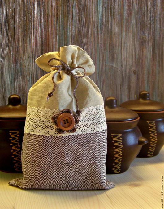 Кухня ручной работы. Ярмарка Мастеров - ручная работа. Купить Льняной мешочек для сушеных трав, грибов, ягод, сухариков. Handmade.