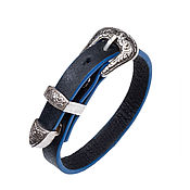 Украшения handmade. Livemaster - original item Women`s leather bracelet Black&Blue with buckle. Handmade.