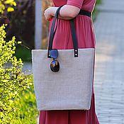 """Сумки и аксессуары handmade. Livemaster - original item Сумка-шоппер """"Льняное лето"""", большая льняная сумка. Handmade."""