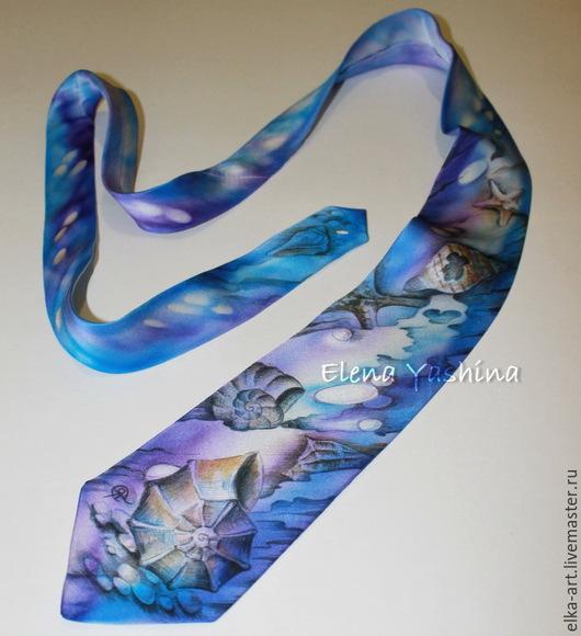 """Галстуки, бабочки ручной работы. Ярмарка Мастеров - ручная работа. Купить Галстук """"Ракушки"""". Handmade. Фиолетовый, морская тема, женщине"""