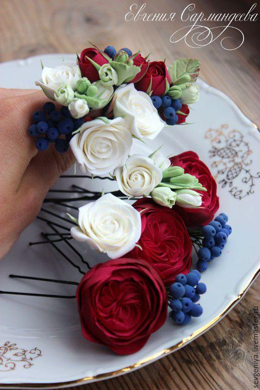 Заколки ручной работы. Ярмарка Мастеров - ручная работа. Купить Шпильки, цветы из полимерной глины. Handmade. Марсала, свадебные аксессуары