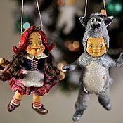 """Набор елочных игрушек из ваты """"Красная шапочка и серый волк"""""""