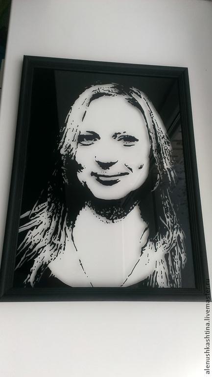 Фотокартины ручной работы. Ярмарка Мастеров - ручная работа. Купить Портрет по фото «Виктория». Handmade. Чёрно-белый, фотография, стекло