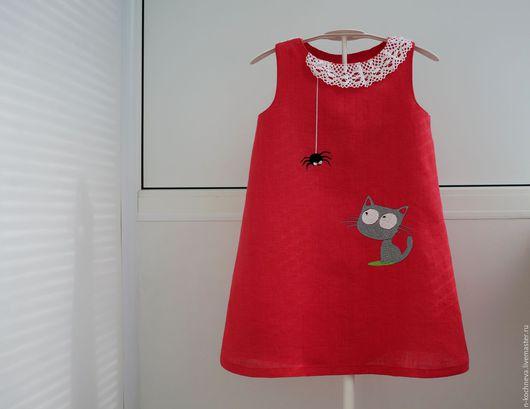Одежда для девочек, ручной работы. Ярмарка Мастеров - ручная работа. Купить Детское платье из льна с котенком. Handmade. Рисунок