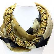 Аксессуары ручной работы. Ярмарка Мастеров - ручная работа Колье шарфик коричневый со звездами. Handmade.