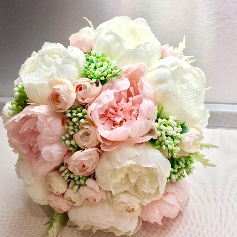 Цветы, свадебный букет с пионами в москве