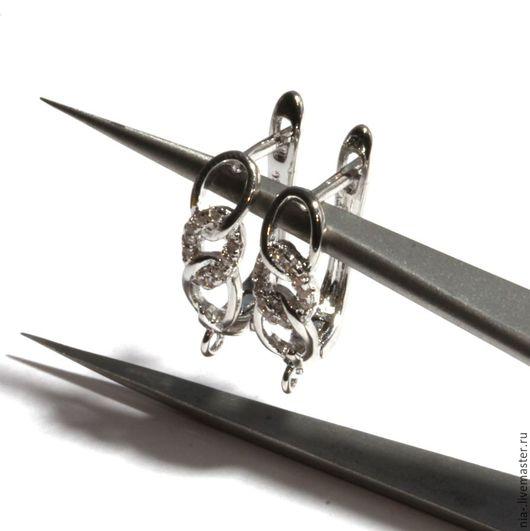 Для украшений ручной работы. Ярмарка Мастеров - ручная работа. Купить Швензы со стразами английский замок покрытие родий 116. Handmade.
