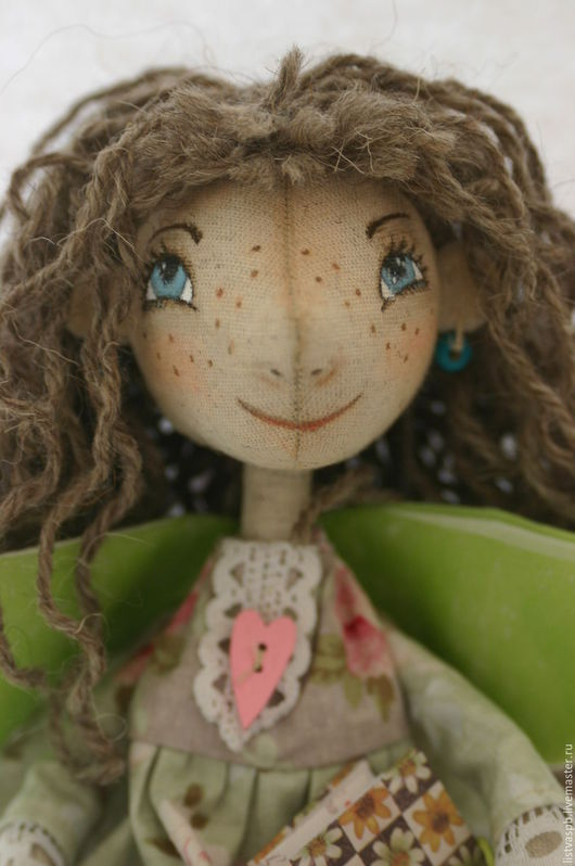 Сказочные персонажи ручной работы. Ярмарка Мастеров - ручная работа. Купить Ангел. Handmade. Салатовый, кукла текстильная, лён