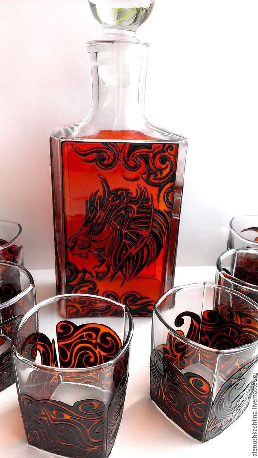 Вазы ручной работы. Ярмарка Мастеров - ручная работа. Купить Набор для виски «Лев». Handmade. Витраж, оранжевый, стакан