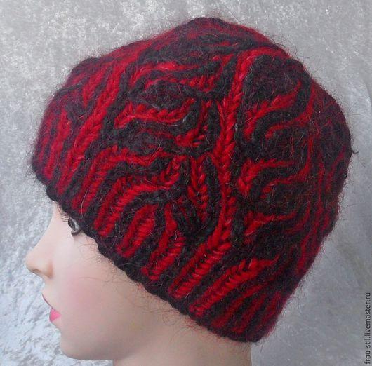 шапка вязаная спицами зимняя женская шапочка бриошь шапку купить шапку вязанные шапки шапка спицами вязаная шапка женская вязанная мохер100 фото шапки
