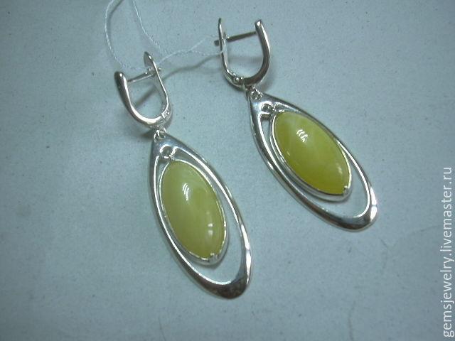 Earrings LIRA AMBER,925 sterling silver, Earrings, Ekaterinburg,  Фото №1