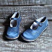 Обувь ручной работы. Ярмарка Мастеров - ручная работа Кожаные туфли Куда уходит детство...серо-синие. Handmade.
