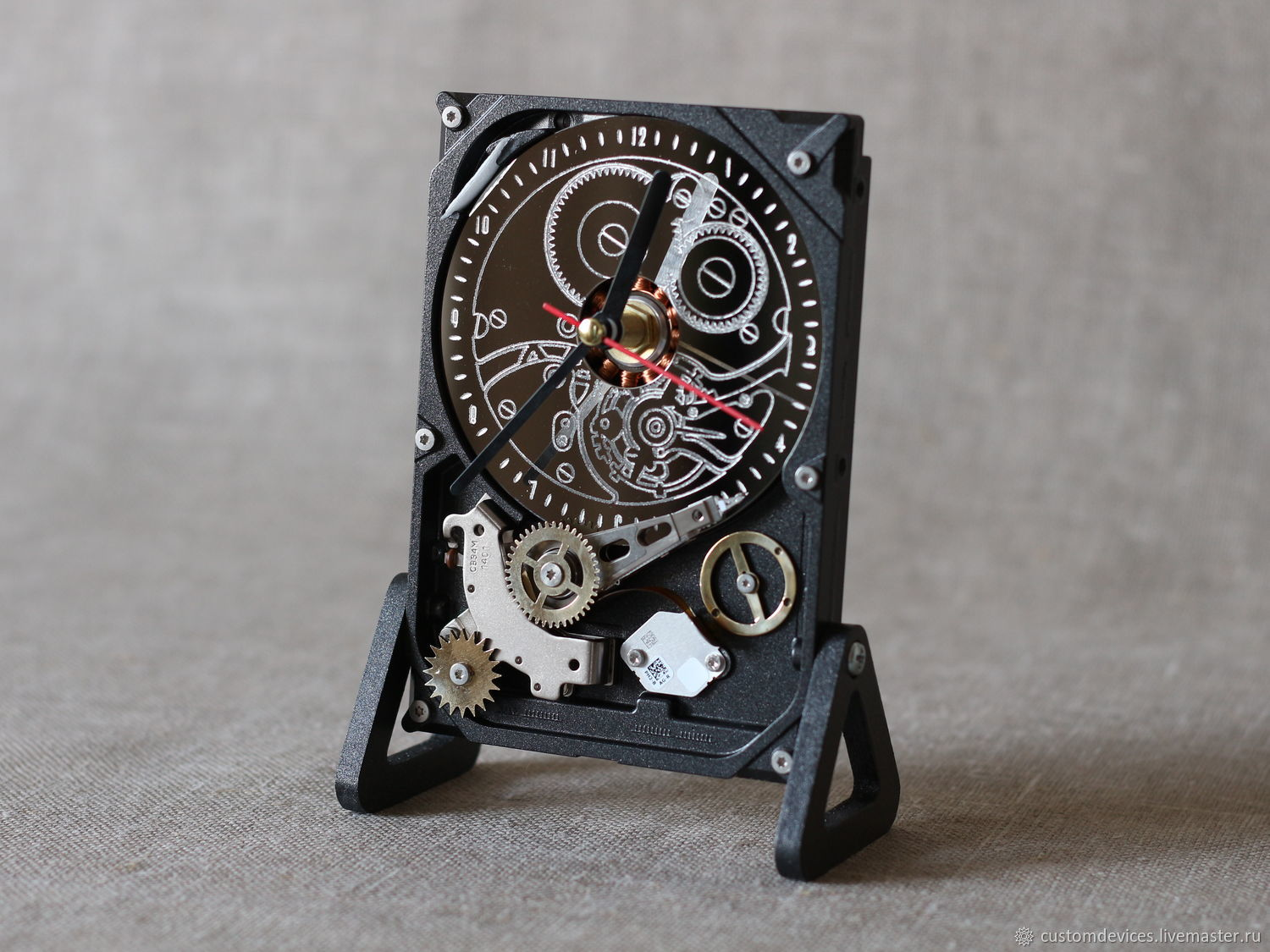 Watch from hard disk # №7 (Steampunk, graphite color), Watch, Moscow,  Фото №1