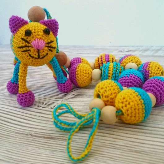 Детская бижутерия ручной работы. Ярмарка Мастеров - ручная работа. Купить Слингобусы с котом- погремушкой. Handmade. Слингобусы, мамабусы для малыша
