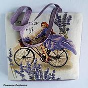 """Классическая сумка ручной работы. Ярмарка Мастеров - ручная работа Сумка женская из гобелена """"Лавандовая девушка"""" большая. Handmade."""
