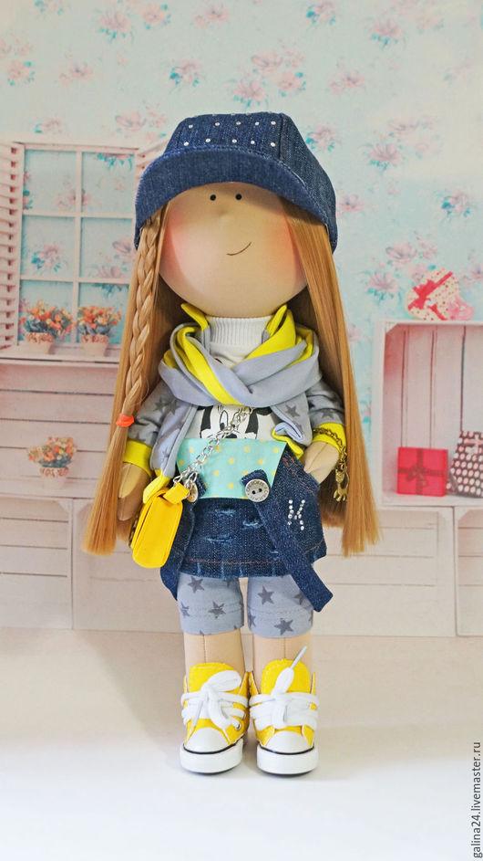 Куклы тыквоголовки ручной работы. Ярмарка Мастеров - ручная работа. Купить Текстильная кукла ручной работы. Handmade. Желтый