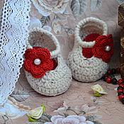 Работы для детей, ручной работы. Ярмарка Мастеров - ручная работа Пинетки-туфельки вязаные. Handmade.