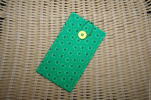 Для телефонов ручной работы. Ярмарка Мастеров - ручная работа. Купить Чехол для телефона Зеленый с пуговицей. Handmade. Чехол, ткань