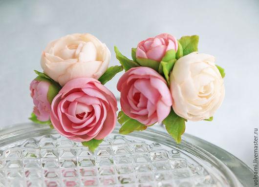 Шпилька для волос , украшение для волос , цветы из полимерной глины. цена  указана за 1шт. пионы