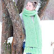 Аксессуары ручной работы. Ярмарка Мастеров - ручная работа Большой и длинный вязаный шарф из мериноса Мохито Гранде (мятный). Handmade.