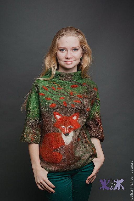 """Кофты и свитера ручной работы. Ярмарка Мастеров - ручная работа. Купить Джемпер """"Догони рыжего!"""". Handmade. Зеленый, свитер с лисой"""