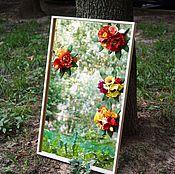 Зеркало с цветами из полимерной глины