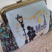 Сумки и аксессуары handmade. Livemaster - original item Cosmetic bag with Clasp embroidery on linen Love Paris. Handmade.