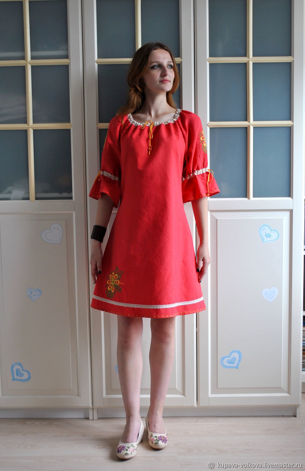 Red linen dress in boho style with embroidery Spring, Dresses, Anapa,  Фото №1